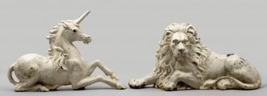 Antique Cast Iron Painted Lion & Unicorn