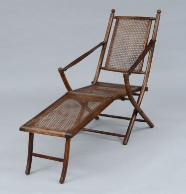 Antique Oak Caned Deck Chair, 1920's