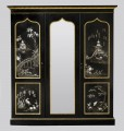 Victorian Black Lacquered Wardrobe Panels Attributed to Jennens & Bettridge