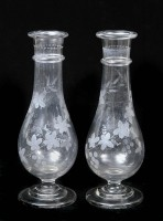 Pair Regency Etched Glass Vases, Circa 1820