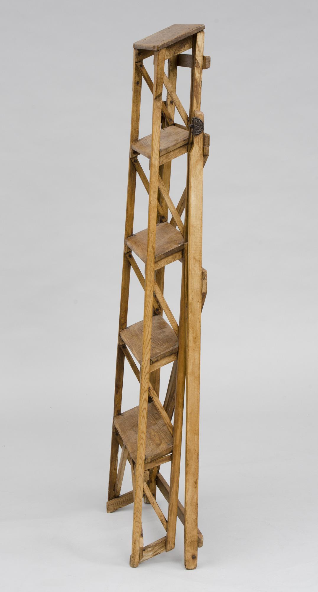 English Antique Pine Ladder The Hatherley Lattistep Patent Ladder