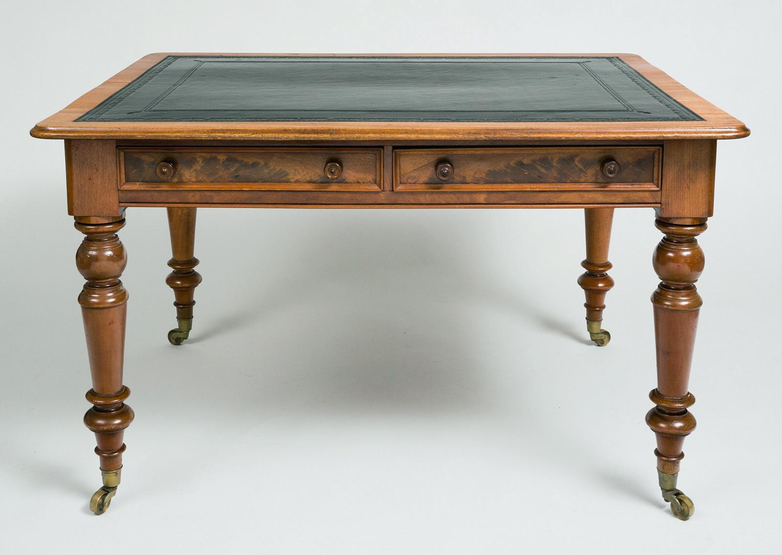 English Antique Mahogany Writing Table Or Desk