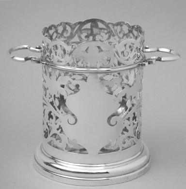 Antique English Sterling Silver Wine Bottle Holder