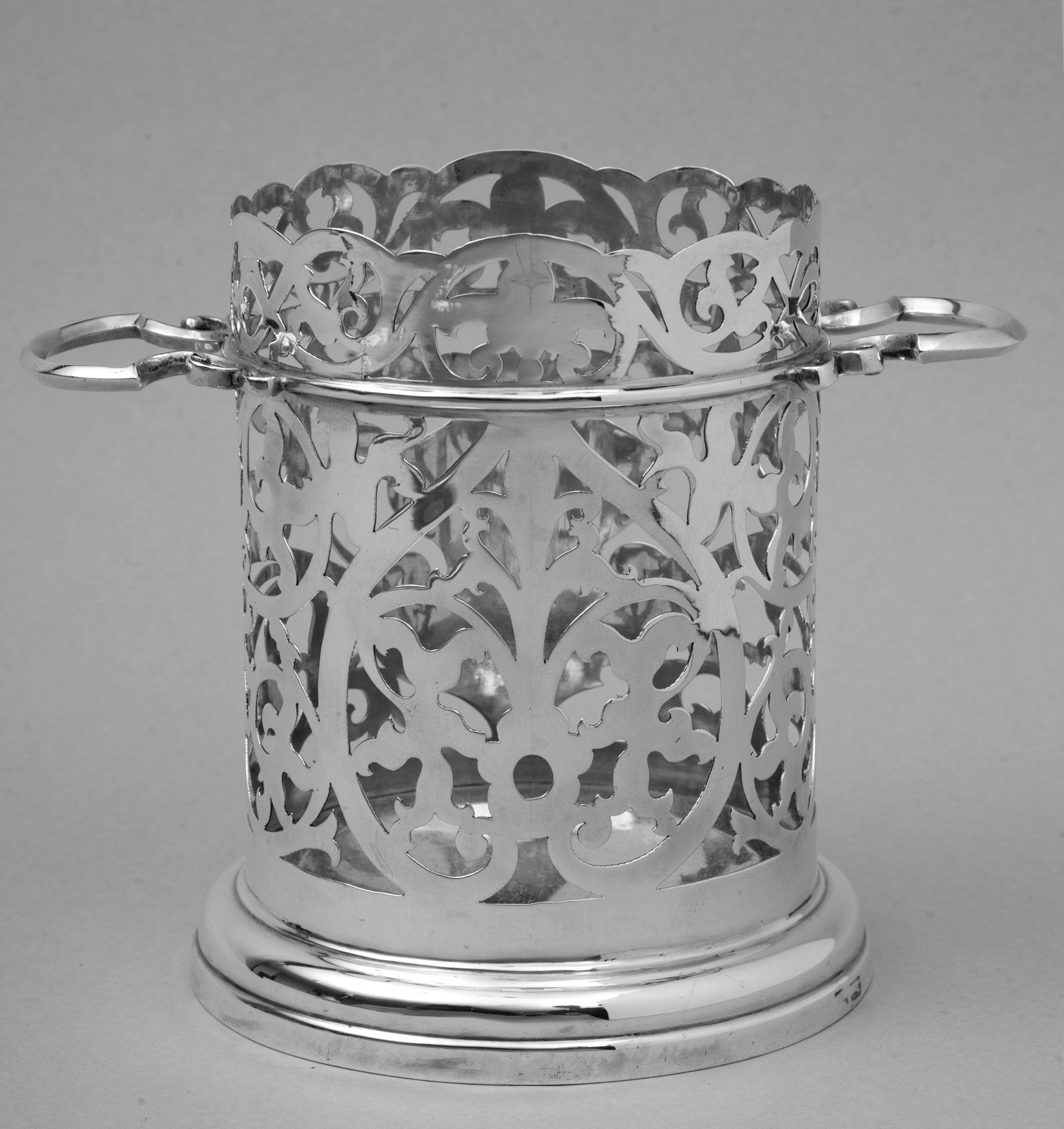 Antique Bottle Display: » Product » Antique English Sterling Silver Wine Bottle Holder