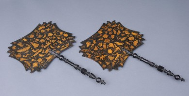 Antique Pair Papier Mache Penwork Face Screens, Circa 1820