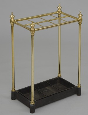 English Antique Brass Umbrella Stand, Circa 1860