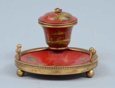 French Chinoiserie Tole Ink Stand