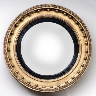 English Antique Regency Convex Mirror