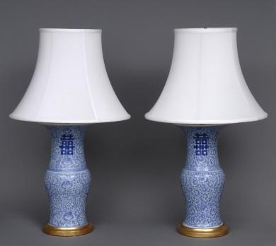 Pair Antique Chinese Kang Xsi Lamps