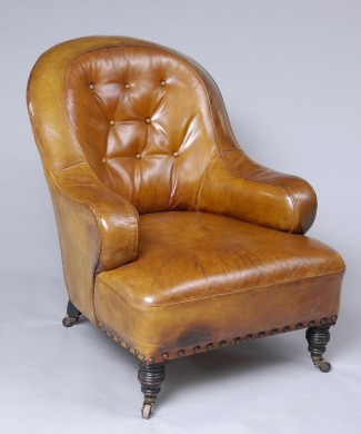 Early Victorian Leather Club Chair, Circa 1860