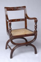 English Antique Carved Mahogany X-Frame Armchair-Main Angled View