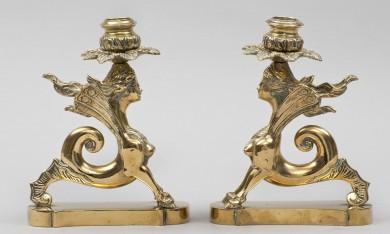 Pair Brass Sphinx Candlesticks