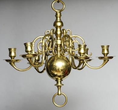 Small Dutch Antique Brass Chandelier