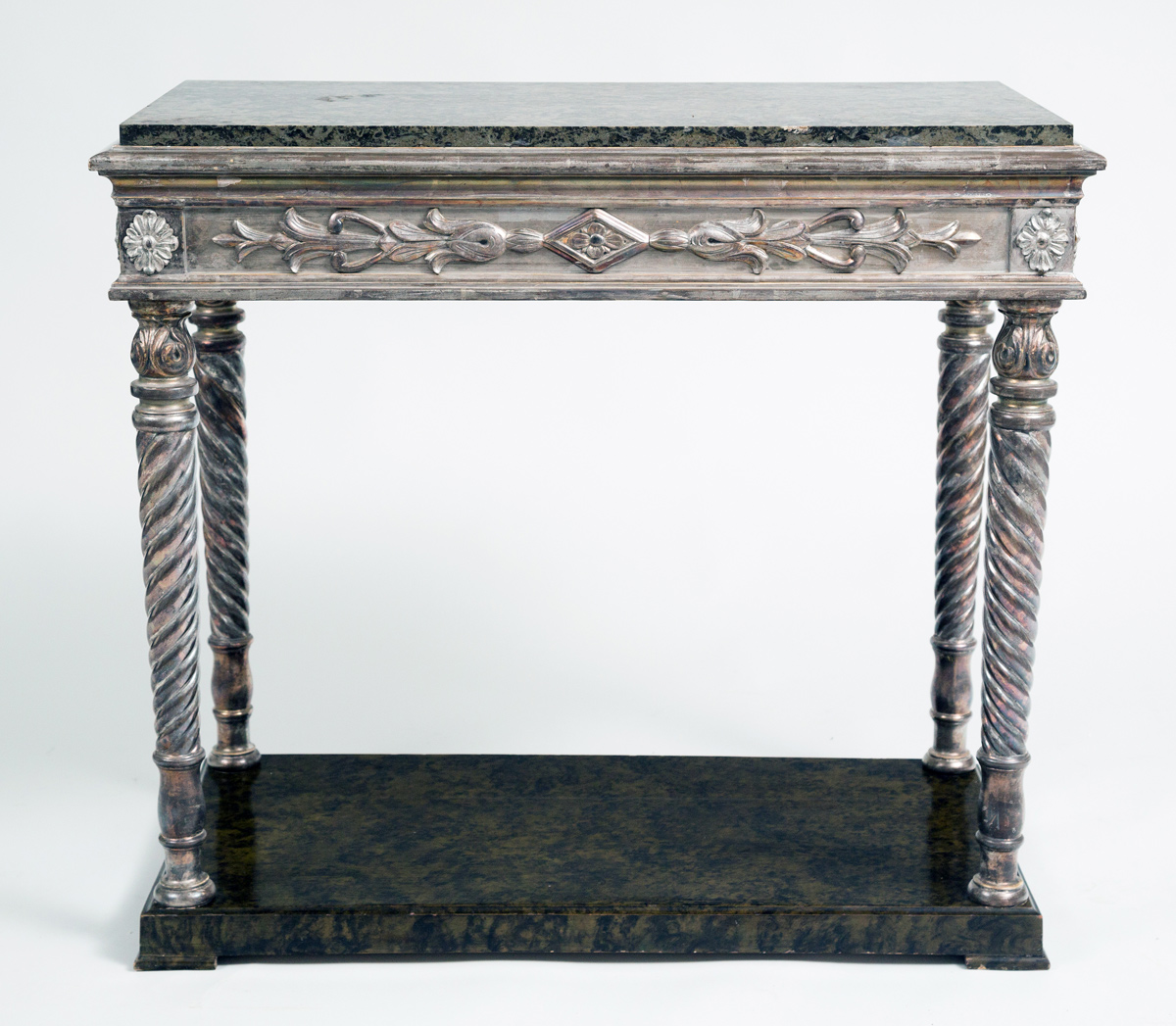 Antique Swedish Parcel Silver Leaf Amp Marble Console Table