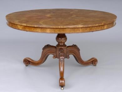 Antique English Very Unusual Pollard Oak Center Table, Circa 1845