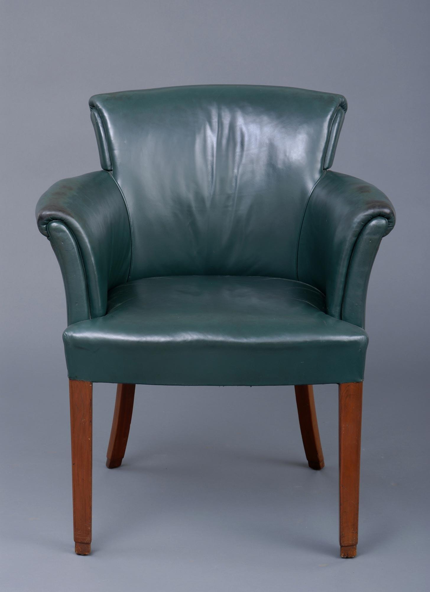 Antique Desk Chair English Art Deco Mahogany Amp Leather