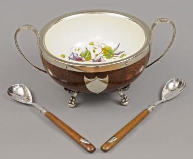 Oak Salad Bowl & Servers