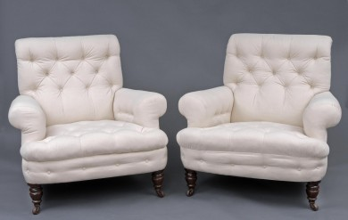 Pair English Antique Victorian Buttoned Club Chairs