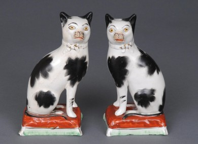 Pair Staffordshire Cats, Circa 1840