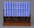 Miniature Mahogany Book Stand and Eleven Books