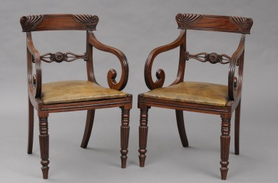 Pair Antique English Regency Carved Mahogany Scroll Armchairs, Circa 1820