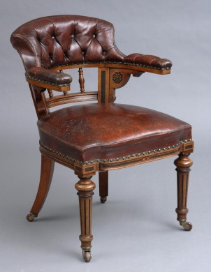 English Antique Victorian Oak & Leather Desk Chair by Marsh, Jones & Cribb, Circa 1860