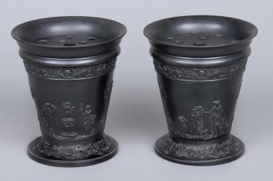 Pair Wedgwood Basalt Bough Pots