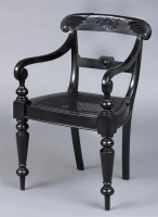 Anglo-Indian Antique Robustly Carved Ebony Armchair, Circa 1840-Angled View