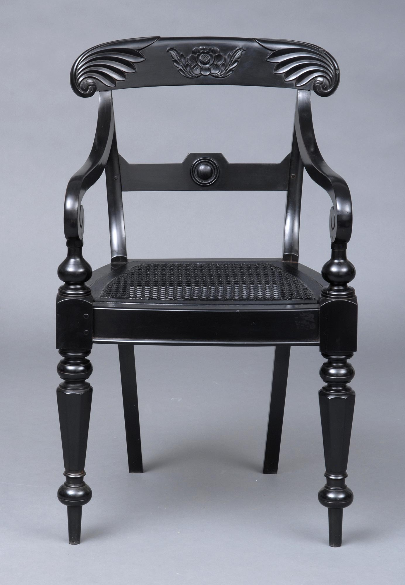 Antique Open Armchairs Anglo Indian Carved Ebony Antique