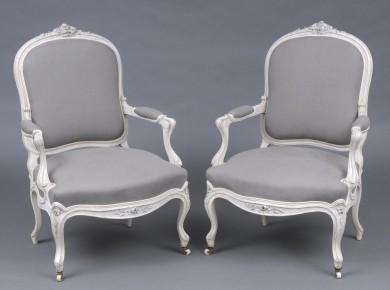Pair Elegant Antique English Painted Rosewood Open Armchairs, Circa 1860