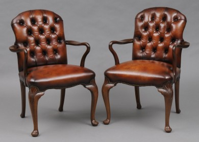 Pair English Antique Leather Shepherd's Crook Armchairs