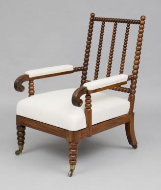 Scottish Antique Rosewood Bobbin Armchair, Circa 1830