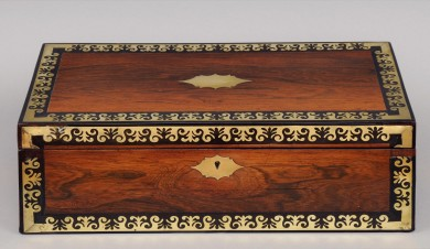 Antique Brass & Rosewood Writing Slope