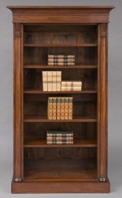 English Antique William IV Mahogany Open Bookcase With Columns, Circa 1830