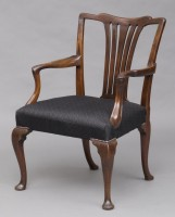 English Antique George II Chippendale Armchair, 18th Century-Front Angled View