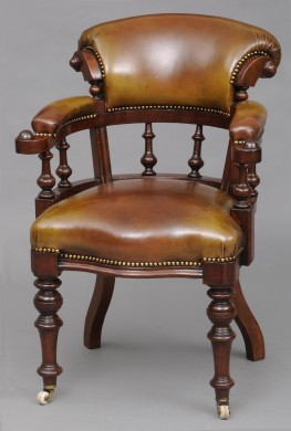 English Antique Victorian Mahogany & Leather Desk Chair, Circa 1870