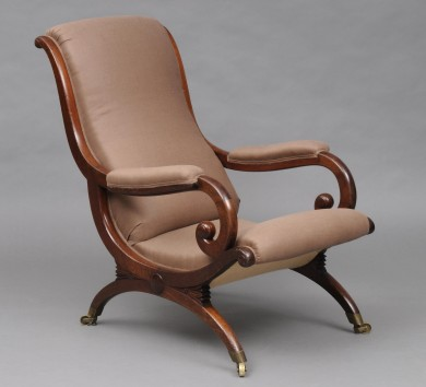 English Antique Regency Mahogany X-Frame Armchair, Circa 1825