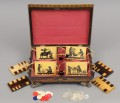 Antique English Regency Penwork Games Box, Circa 1820