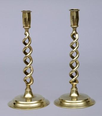 Pair of English Antique Brass Twist Candlesticks