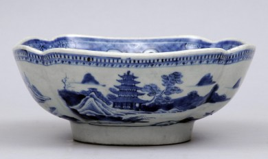 Chinese Blue and White Canton Bowl
