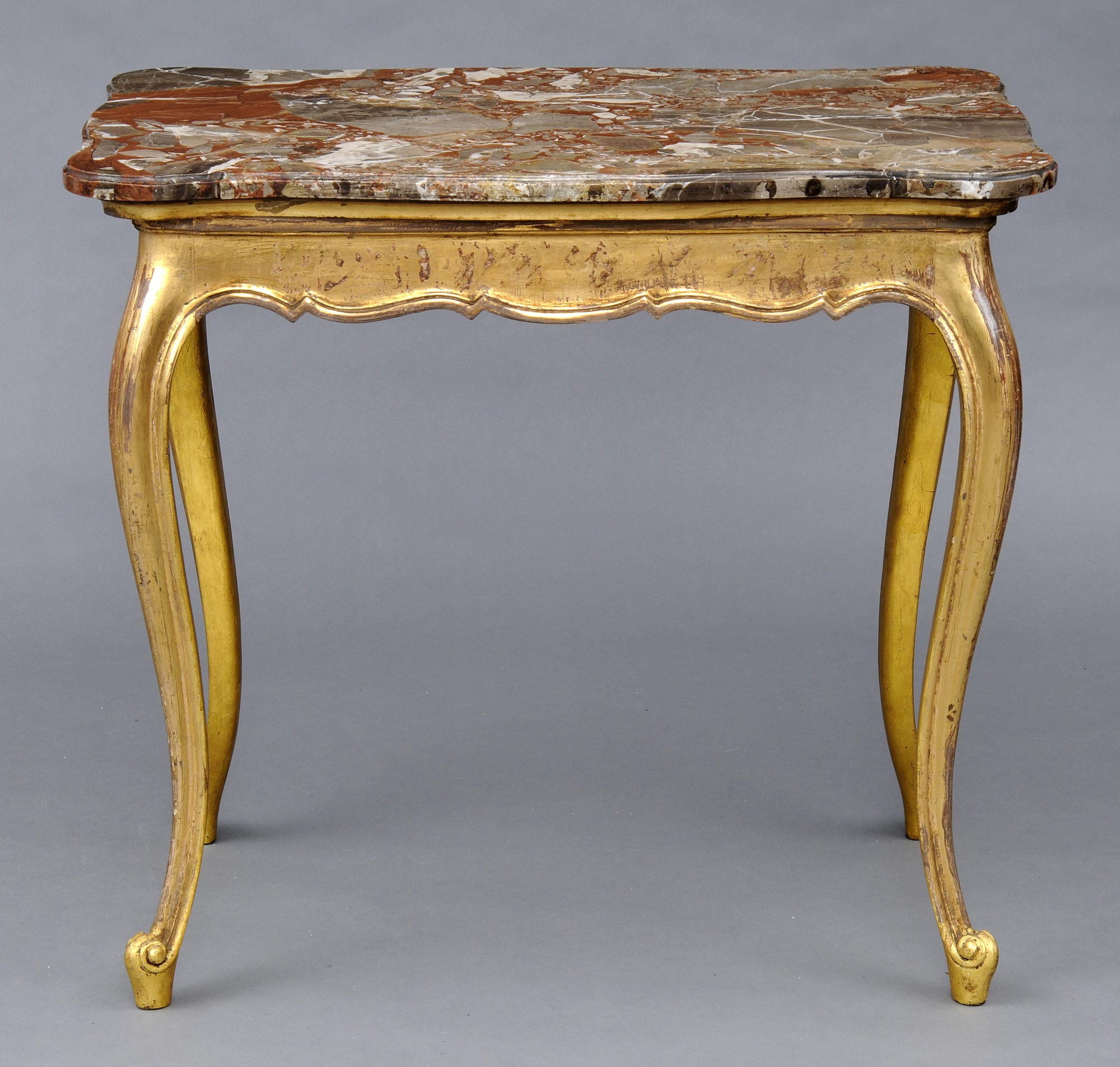 French Giltwood Breche Antique Marble Console Table