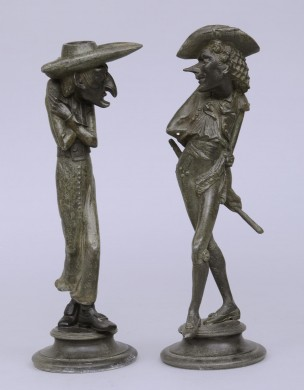 Antique French Pair Caricature Candlesticks