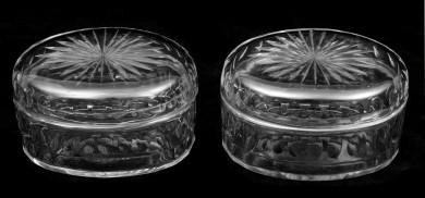 Pair Cut Glass Boxes