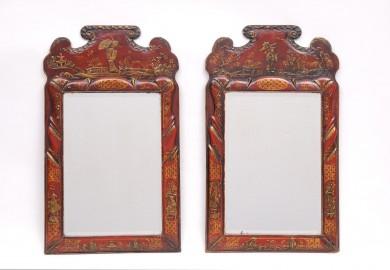Pair Red Chinoiserie Mirrors