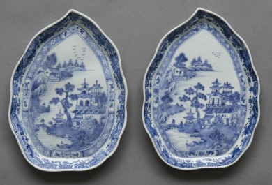 Pair Chinese Export Leaf Dishes