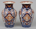 Pair Large Japanese Imari Open Vases, Circa 1870