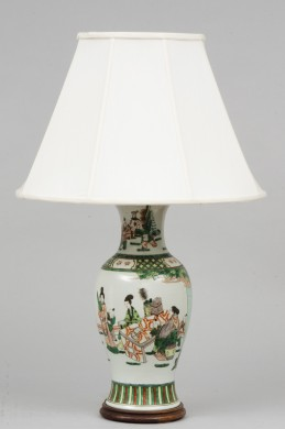 Antique Chinese Famille Vert Lamp