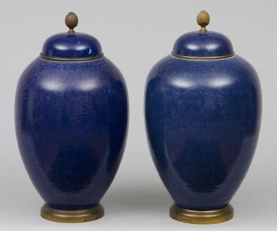 French Samson Cobalt Blue Vases