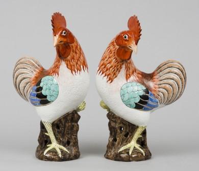 French Pair Samson Cockerels