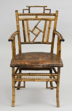 English Antique Bamboo Armchair in the Style of the Brighton Pavilion, Circa 1870